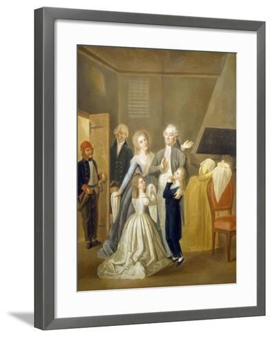 Louis XVI's Farewell to His Family, January 20, 1793-Jean-Jacques Hauer-Framed Art Print