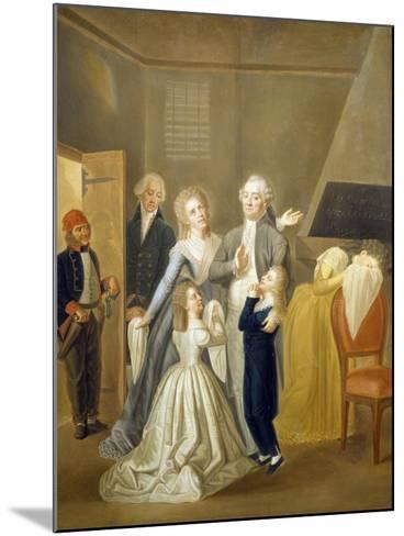Louis XVI's Farewell to His Family, January 20, 1793-Jean-Jacques Hauer-Mounted Giclee Print