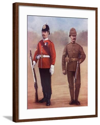 Colour-Sergeant of the West Yorkshire Regiment, Left, and a Sergeant of the Yorkshire Regiment-Louis Creswicke-Framed Art Print