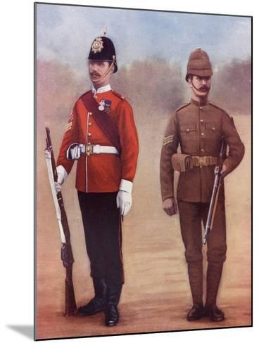 Colour-Sergeant of the West Yorkshire Regiment, Left, and a Sergeant of the Yorkshire Regiment-Louis Creswicke-Mounted Giclee Print