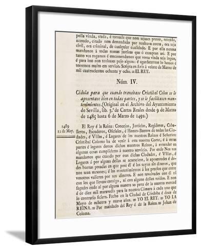 Permit Issued by Court of King's Service, Cordova, May 12, 1489-Martin Fernandez De Navarrete-Framed Art Print