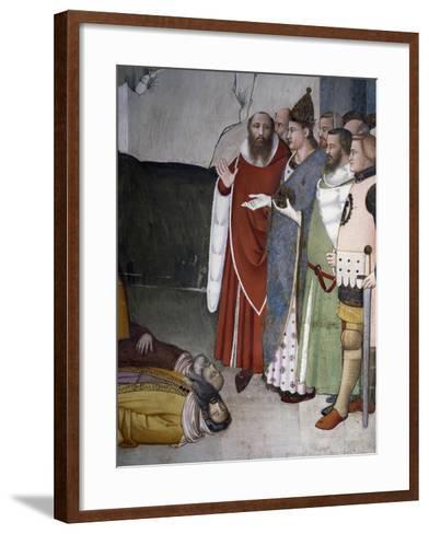 Saint Resurrecting Two Magi, Detail from Life of St Sylvester, 1341-Maso Di Banco-Framed Art Print