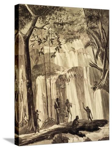 Falls at Fort Praslin, Engraving from Voyage around World, 1822-1825-Louis Isidore Duperrey-Stretched Canvas Print