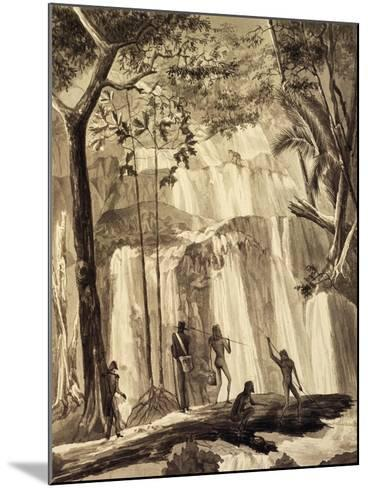 Falls at Fort Praslin, Engraving from Voyage around World, 1822-1825-Louis Isidore Duperrey-Mounted Giclee Print