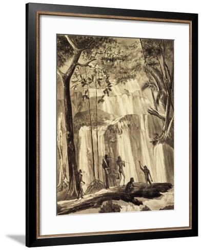 Falls at Fort Praslin, Engraving from Voyage around World, 1822-1825-Louis Isidore Duperrey-Framed Art Print