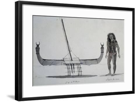 Native and Canoe Aouera Island, Engraving from Voyage around World, 1822-1825-Louis Isidore Duperrey-Framed Art Print