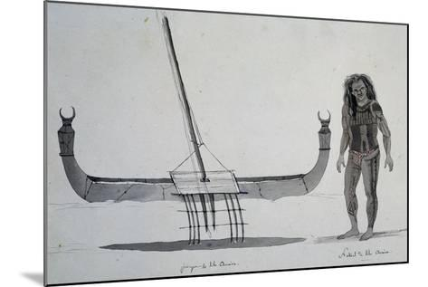 Native and Canoe Aouera Island, Engraving from Voyage around World, 1822-1825-Louis Isidore Duperrey-Mounted Giclee Print
