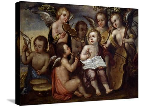 Baby Jesus with Angels Playing Musical Instruments, 17th Century-Juan Correa-Stretched Canvas Print