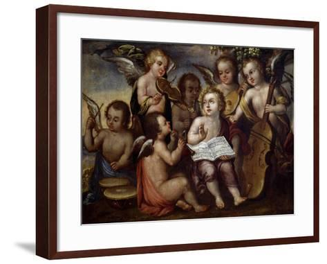 Baby Jesus with Angels Playing Musical Instruments, 17th Century-Juan Correa-Framed Art Print