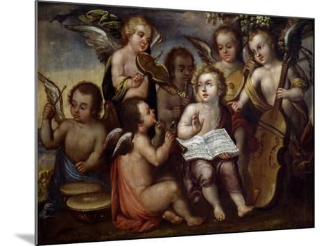 Baby Jesus with Angels Playing Musical Instruments, 17th Century-Juan Correa-Mounted Giclee Print