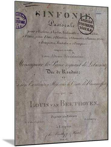 Title Page of Score for Pastoral Symphony No 6 in F Major, Opus 68-Ludwig Van Beethoven-Mounted Giclee Print