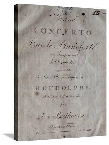 Title Page of Score for Concerto for Piano and Orchestra No 5, Opus 73-Ludwig Van Beethoven-Stretched Canvas Print
