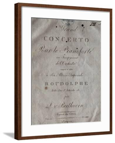 Title Page of Score for Concerto for Piano and Orchestra No 5, Opus 73-Ludwig Van Beethoven-Framed Art Print