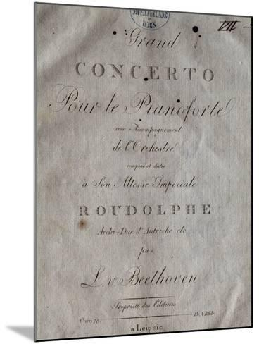 Title Page of Score for Concerto for Piano and Orchestra No 5, Opus 73-Ludwig Van Beethoven-Mounted Giclee Print