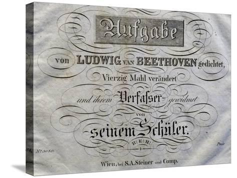 Title Page of Score for Variations on Theme Written for Archduke Rudolph-Ludwig Van Beethoven-Stretched Canvas Print