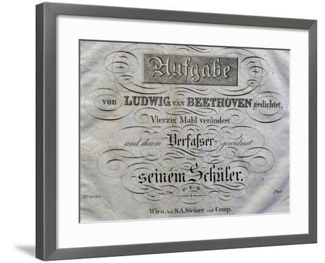 Title Page of Score for Variations on Theme Written for Archduke Rudolph-Ludwig Van Beethoven-Framed Art Print
