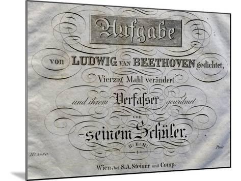 Title Page of Score for Variations on Theme Written for Archduke Rudolph-Ludwig Van Beethoven-Mounted Giclee Print