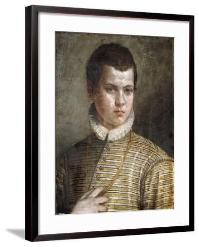 Portrait of a Young Man, Bust-Length, Wearing a Striped Costume and a White Ruff-Paolo Caliari-Framed Art Print