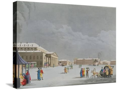 View of the Square and the Grand Theatre at St. Petersburg- Mornay-Stretched Canvas Print