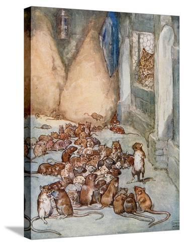 The Mice in the Council from 'Aesop's Fables'-John Edwin Noble-Stretched Canvas Print