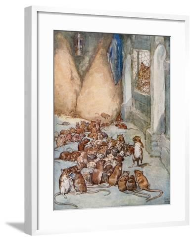 The Mice in the Council from 'Aesop's Fables'-John Edwin Noble-Framed Art Print