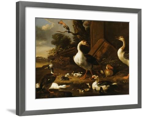 Chinese and Egyptian Geese and Other Birds in a Landscape with Ruins Nearby-Melchior de Hondecoeter-Framed Art Print