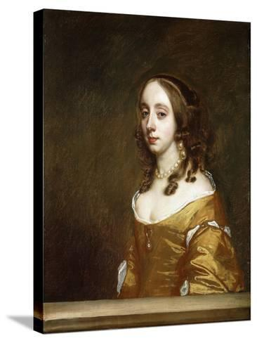 Portrait of a Lady of the Popham Family, Half-Length, Behind a Casement, Wearing an Orange Dress-Sir Peter Lely-Stretched Canvas Print