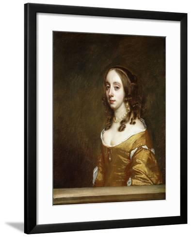 Portrait of a Lady of the Popham Family, Half-Length, Behind a Casement, Wearing an Orange Dress-Sir Peter Lely-Framed Art Print