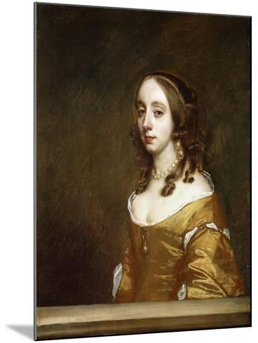 Portrait of a Lady of the Popham Family, Half-Length, Behind a Casement, Wearing an Orange Dress-Sir Peter Lely-Mounted Giclee Print