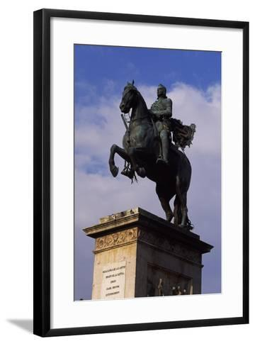 Spain, Madrid, Plaza De Oriente, Equestrian Statue Monument to Philip IV of Spain-Pietro Tacca-Framed Art Print