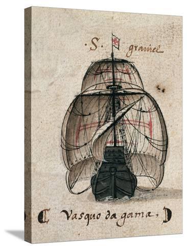Vasco Da Gama's Caravel, Illustration from 'Memorias Das Armadas', C.1568--Stretched Canvas Print