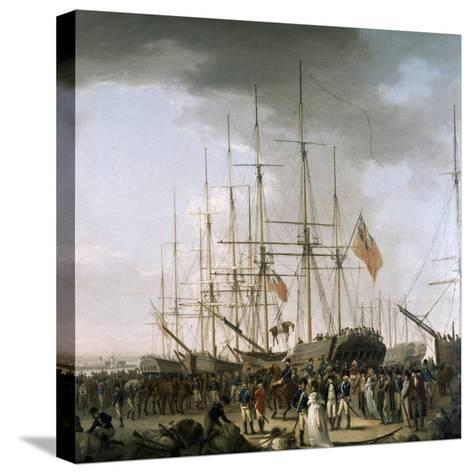 Cavalry Embarking at Blackwall, Near Greenwich, April 24, 1793-William Anderson-Stretched Canvas Print