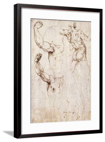 The Back of a Nude and Two Studies of a Raised Arm and Shoulder, Seen from the Front-Perino Del Vaga-Framed Art Print