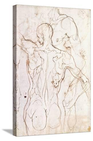 A Nude Seen from Behind, Looking to the Left, and Other Studies of His Left Shoulder and Right Leg-Perino Del Vaga-Stretched Canvas Print