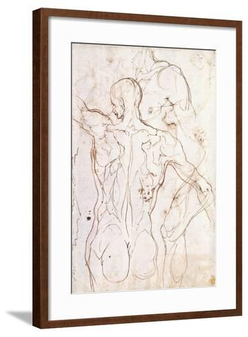 A Nude Seen from Behind, Looking to the Left, and Other Studies of His Left Shoulder and Right Leg-Perino Del Vaga-Framed Art Print