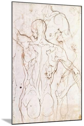 A Nude Seen from Behind, Looking to the Left, and Other Studies of His Left Shoulder and Right Leg-Perino Del Vaga-Mounted Giclee Print