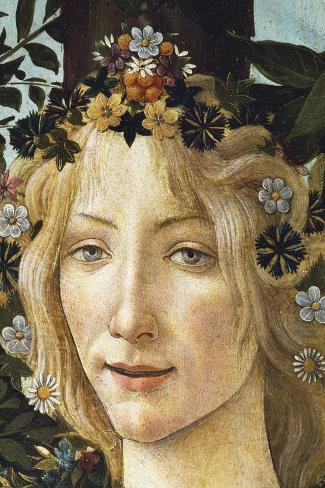 The Face of Flora, Detail of the Allegory of Spring, Circa 1477-1490-Sandro Botticelli-Stretched Canvas Print
