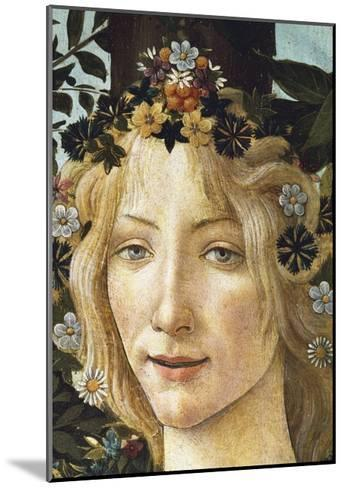 The Face of Flora, Detail of the Allegory of Spring, Circa 1477-1490-Sandro Botticelli-Mounted Giclee Print