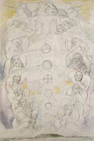The Deity, from Whom Proceed the Nine Spheres, Illustration to the 'Divine Comedy', Paradiso-William Blake-Stretched Canvas Print