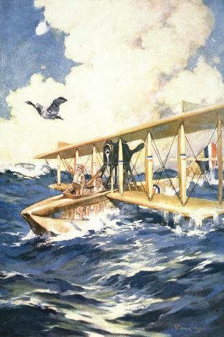 """""""With Our Seaplane in the North Sea, a Carrier to the Rescue"""", from 'The Sphere', 1918-William Edward Wigfull-Stretched Canvas Print"""