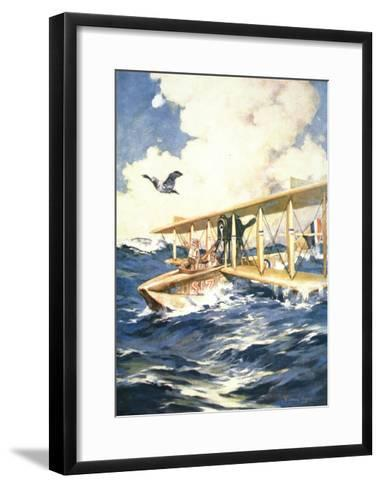 """""""With Our Seaplane in the North Sea, a Carrier to the Rescue"""", from 'The Sphere', 1918-William Edward Wigfull-Framed Art Print"""