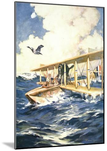 """""""With Our Seaplane in the North Sea, a Carrier to the Rescue"""", from 'The Sphere', 1918-William Edward Wigfull-Mounted Giclee Print"""