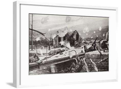 Lance-Corporal Charles Jarvis Blowing Up the Bridge at Jemappes, Belgium, 23 August, 1914-Richard Caton Woodville II-Framed Art Print