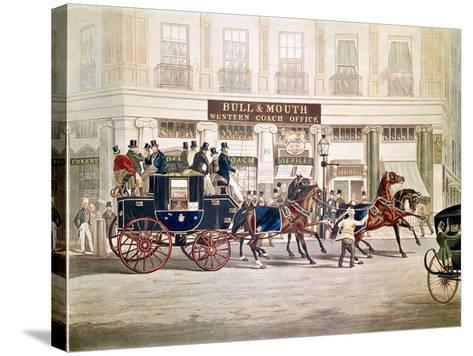 Regent's Circus, Beaufort Coach Starting from the Bull and Mouth-Shayer and Hunt-Stretched Canvas Print