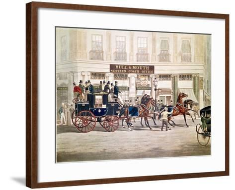 Regent's Circus, Beaufort Coach Starting from the Bull and Mouth-Shayer and Hunt-Framed Art Print