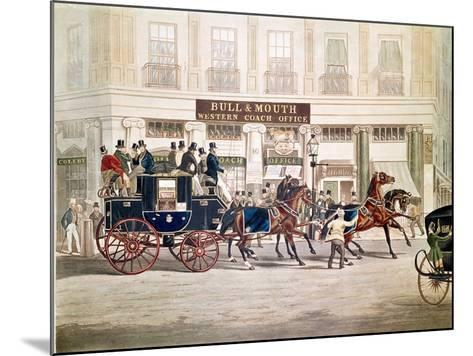Regent's Circus, Beaufort Coach Starting from the Bull and Mouth-Shayer and Hunt-Mounted Giclee Print