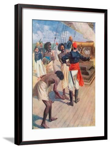 """The Chiefs Were Then Directed to Look at a Rock About Two Miles Out at Sea, and the Gun Was Fired""-William Henry Charles Groome-Framed Art Print"