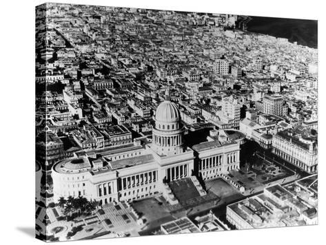 Aerial View of Havana Shows the Capitol with its Formal Gardens and Public Square in the Foreground--Stretched Canvas Print