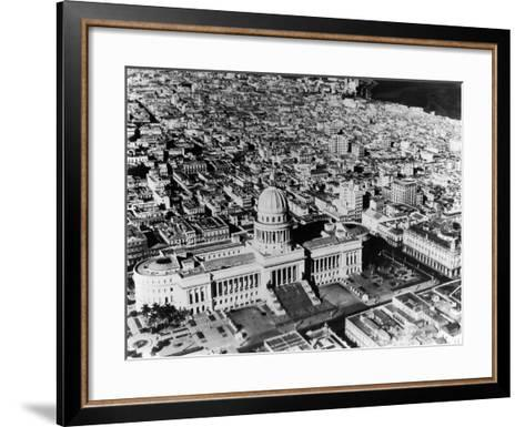 Aerial View of Havana Shows the Capitol with its Formal Gardens and Public Square in the Foreground--Framed Art Print