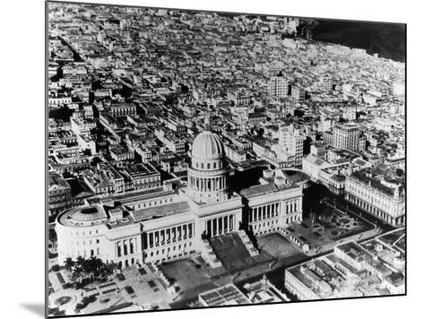 Aerial View of Havana Shows the Capitol with its Formal Gardens and Public Square in the Foreground--Mounted Photographic Print